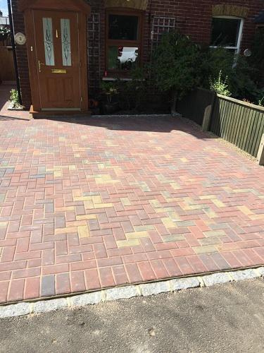 Image 91 - Block paving driveway with granite setts in Shalford
