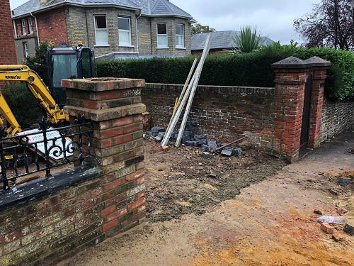 Image 16 - Gravel driveway with Granite setts & Indian Sandstone pathways with wooden sleeper walls in Guildford