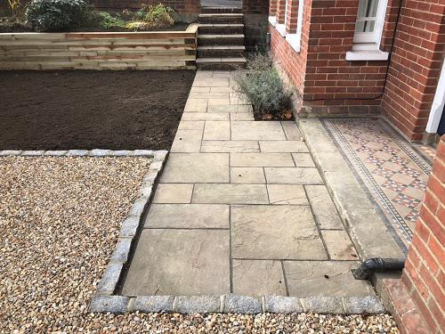 Image 21 - Gravel driveway with Granite setts & Indian Sandstone pathways with wooden sleeper walls in Guildford
