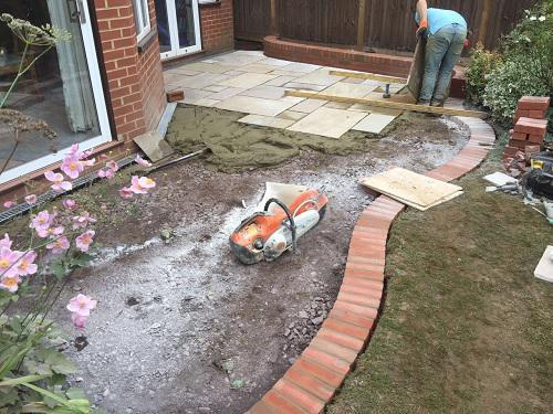 Image 23 - Indian Sandstone patio with Red brickwork in Godalming