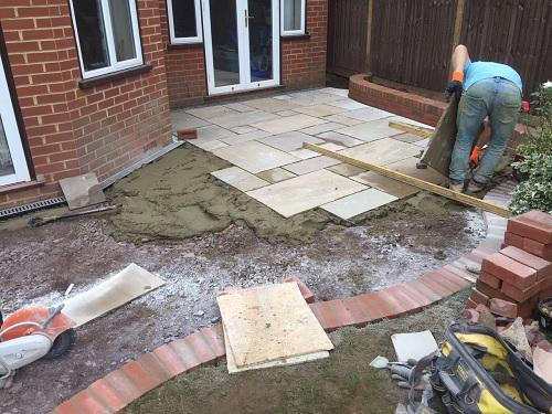 Image 24 - Indian Sandstone patio with Red brickwork in Godalming