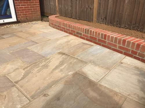 Image 26 - Indian Sandstone patio with Red brickwork in Godalming