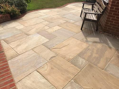 Image 27 - Indian Sandstone patio with Red brickwork in Godalming