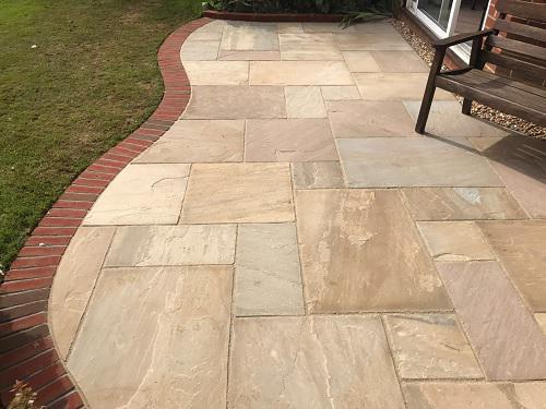 Image 28 - Indian Sandstone patio with Red brickwork in Godalming