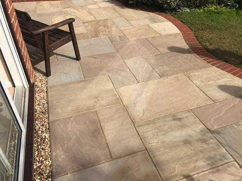 Image 29 - Indian Sandstone patio with Red brickwork in Godalming