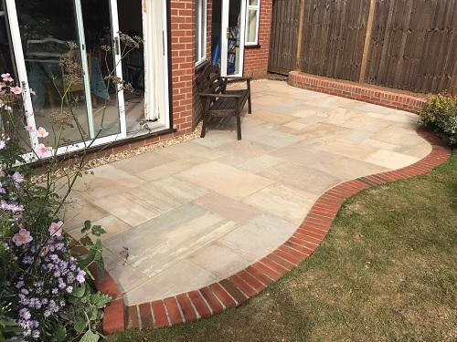 Image 30 - Indian Sandstone patio with Red brickwork in Godalming