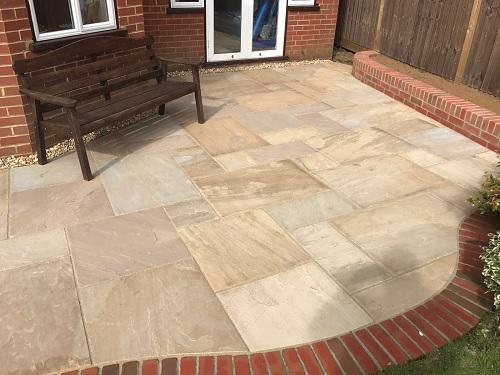 Image 31 - Indian Sandstone patio with Red brickwork in Godalming