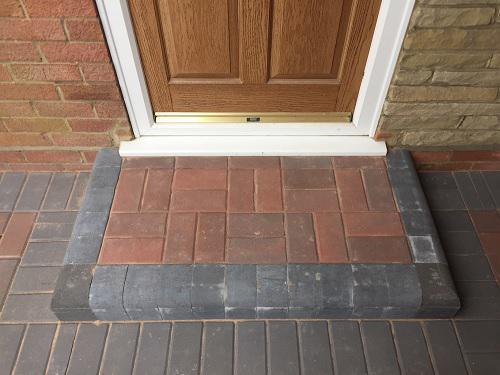 Image 37 - Block paving driveway with wooden sleeper walls in Mayford