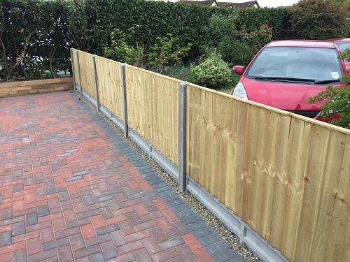 Image 39 - Block paving driveway with wooden sleeper walls in Mayford
