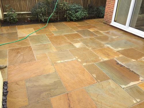 Image 62 - Indian Sandstone patio & pathway with new premium grass in Farnborough
