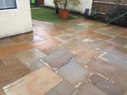 Image 63 - Indian Sandstone patio & pathway with new premium grass in Farnborough