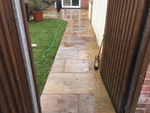 Image 64 - Indian Sandstone patio & pathway with new premium grass in Farnborough