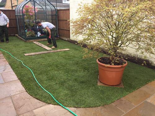 Image 65 - Indian Sandstone patio & pathway with new premium grass in Farnborough