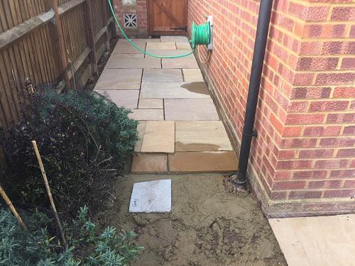 Image 69 - Indian Sandstone patio & pathway with new premium grass in Farnborough