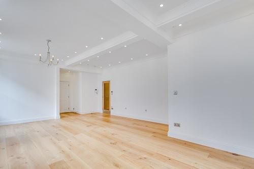 Image 56 - Demolish partition wall and close ooff unused space in living room to make a 4th bedroom. Installed ciling and floor level lighting with sensors. Fit wood flooring and paint. Installed wifi connections in all rooms of the flat whole flat