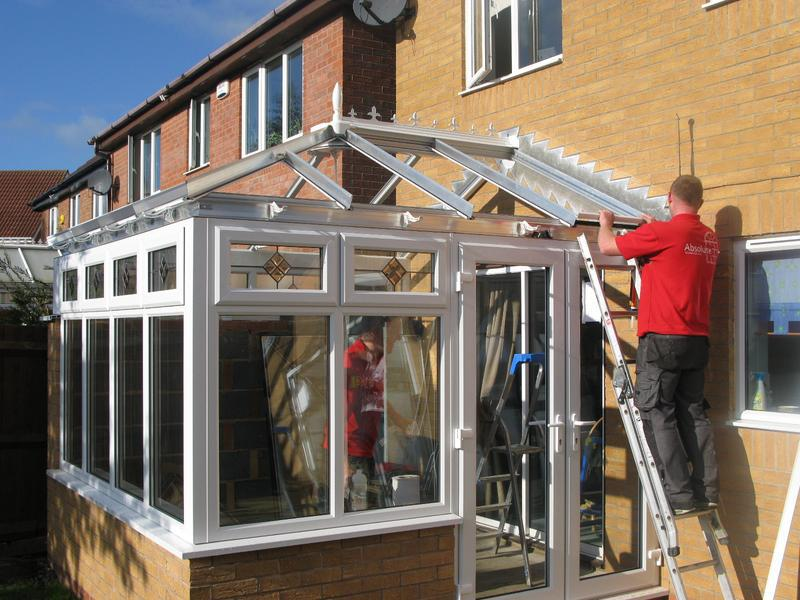 Image 29 - Edwarian Conservatory with bevelled glass being fitted in Loughborough