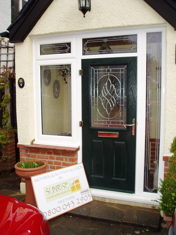 Image 30 - Green composite door with leaded windows