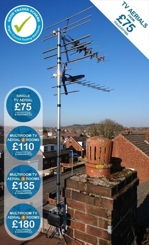 Image 3 - This five-room Freeview TV Aerial installation was completed in Wigan, using the Blake XK-05 to feed four rooms and a second aerial, the RX-12, to the fifth. All of our quality fixings are galvanised, giving our client years of problem-free TV reception.
