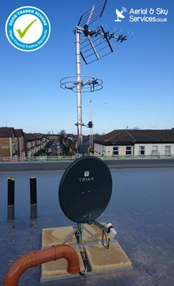 Image 1 - This commercial IRS installation (Integrated Reception System) was for MCI Developments. Installation on x2 27-apartment complexes in Kensington, Liverpool. This single antenna system will provide all owners with access to Sky-Q, Freeview, Freesat and DAB/FM radio.