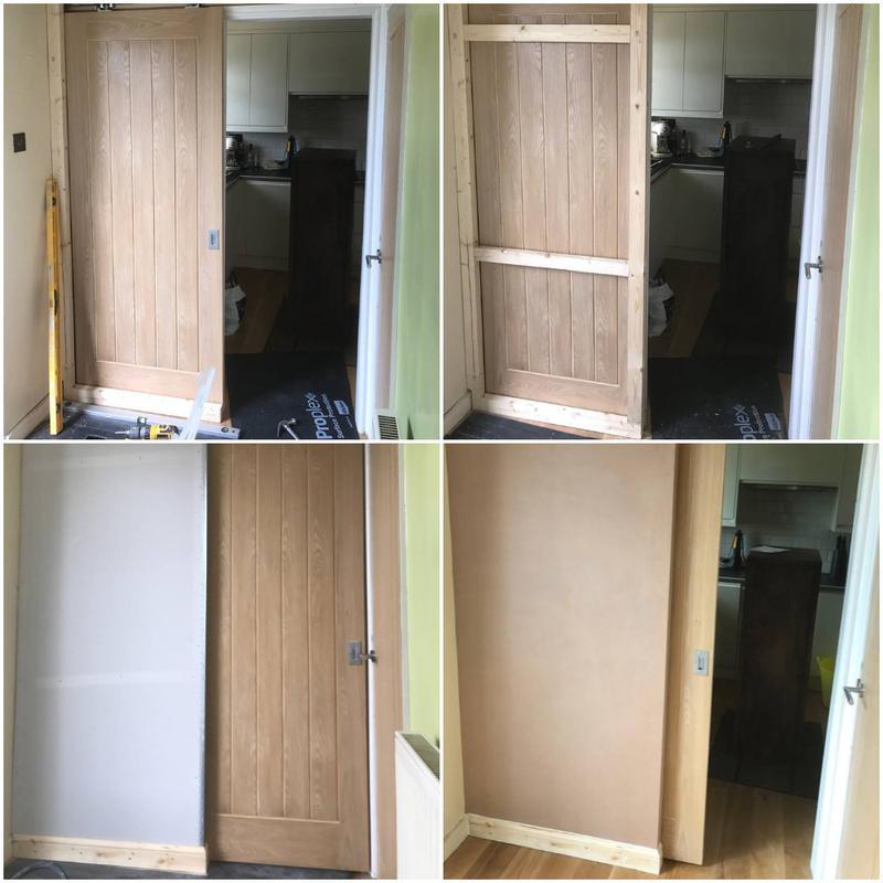 Image 4 - Studwork, Board & Plaster to hide door