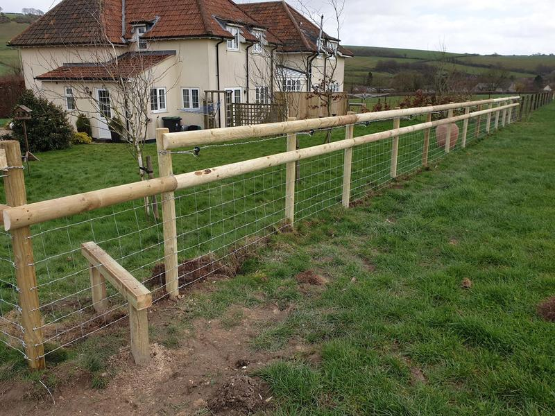 Image 194 - Post and rail stock fencing with integrated style, Sydling St Nicholas