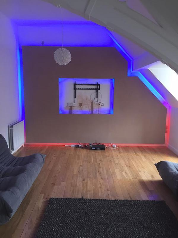 Image 2 - A 3D Projected flaoting wall with LED lighting we designed and built in a property in Glasgow
