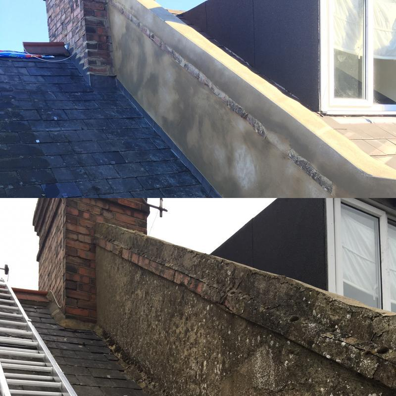 Image 45 - Before and after, new two coats of rendering to parapet wall and new lead flashings