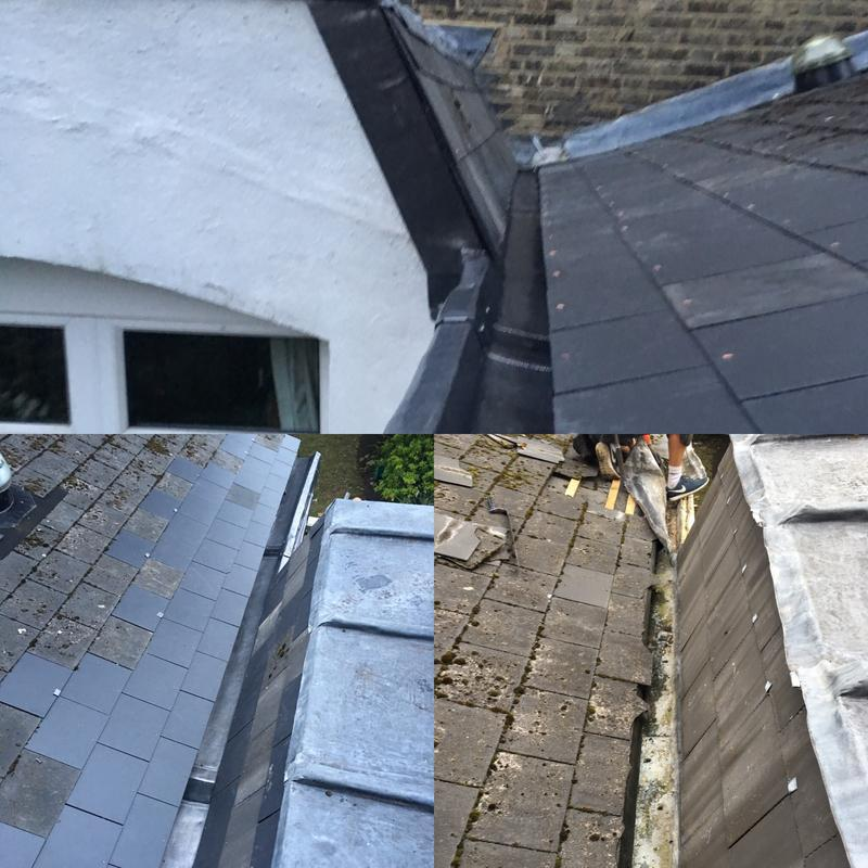 Image 41 - Before and after of a new lead box gutter installed