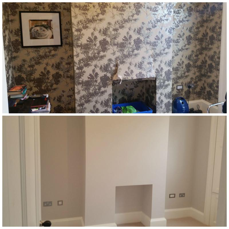 Image 99 - Wallpaper removed, a wall plastered and painted.
