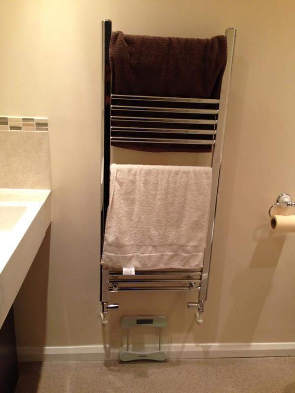Image 17 - Towel rail in new cloakroom of garage conversion.