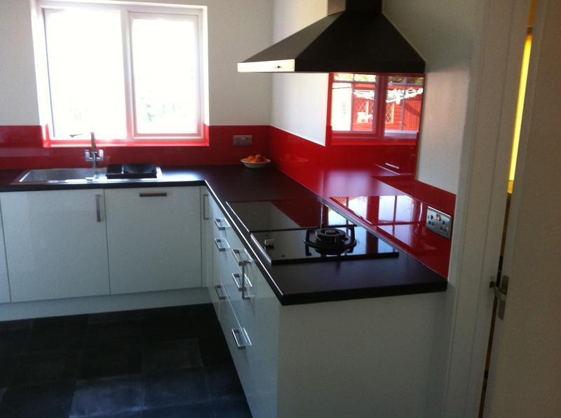 Image 4 - Red splash backs with socket cut outs