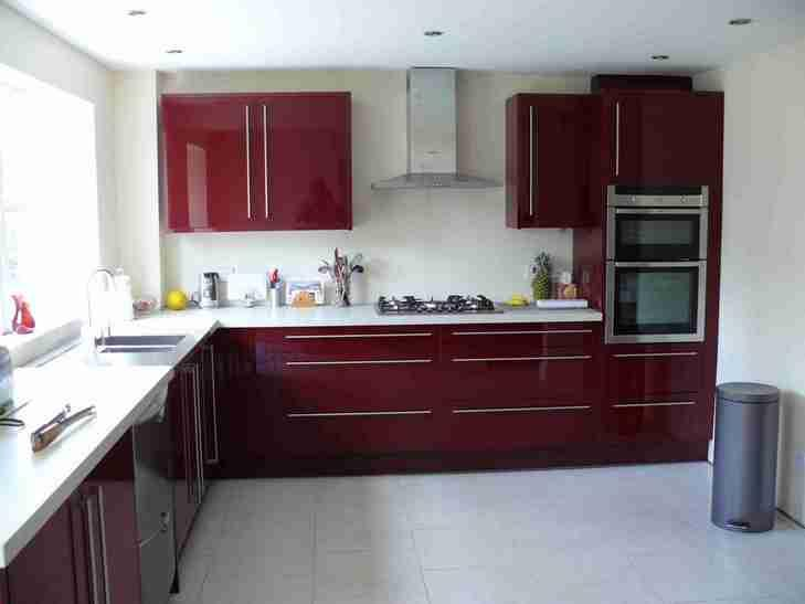 Image 11 - Burgundy gloss. Solid surface worktops.