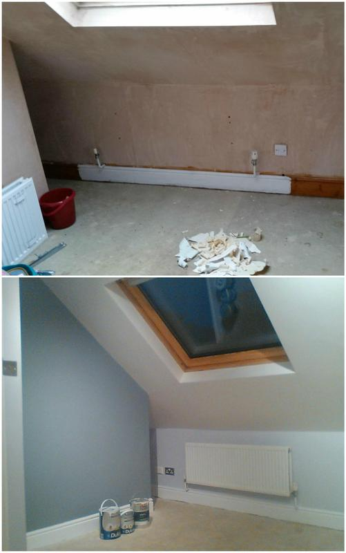 Image 96 - Refurbishment of attic bedroom including plastering and painting.