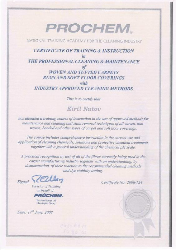 Image 18 - Prochem Carpet and Rugs Cleaning Certificate