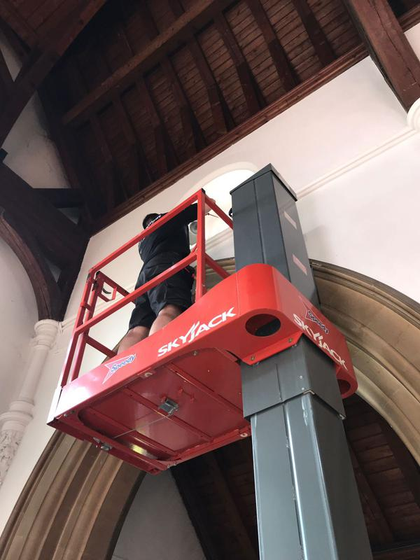 Image 21 - Working safely at heights in the church.