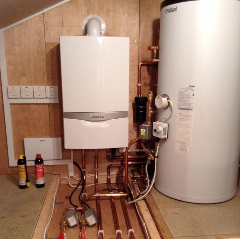 Image 32 - System boiler, central heating system and unvented indirect hot water cylinder installation