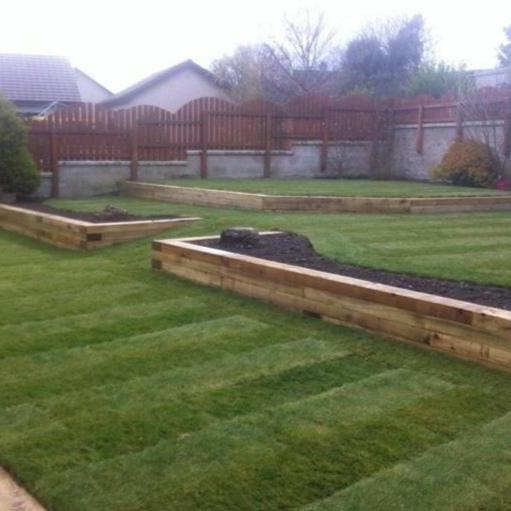 Image 18 - New lawn and railway sleepers