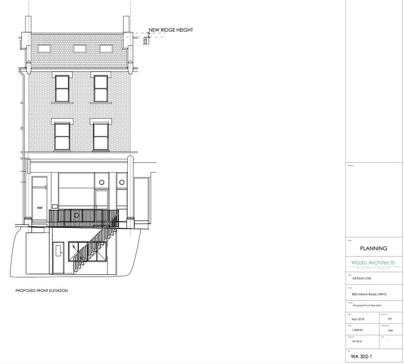 Image 7 - Proposed Front Elevation (Full renovation in harrow road. basement extension and roof extension)