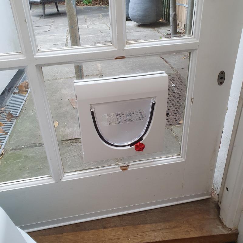 Image 17 - Cat flap fitted into geo bar door.