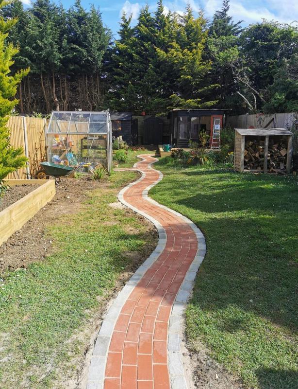Image 6 - Engineering brick waved path with grey edging