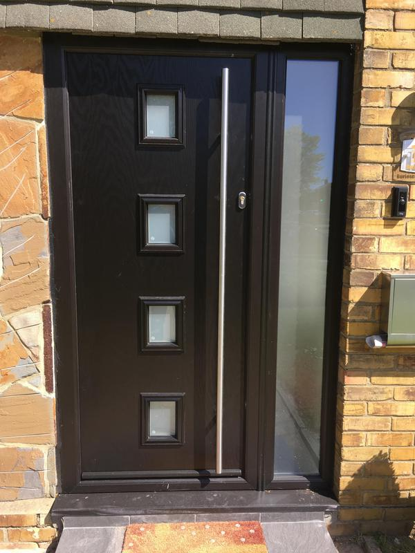 Image 100 - Shoebury-Black composite door with glazed side panel