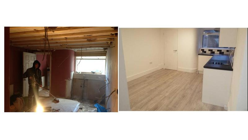 Image 23 - Before and after, conversion of a three storey listed building into three self contained flats with fire panel, full rewire, electric cylinder water system.