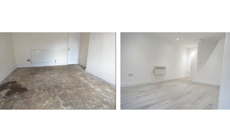 Image 25 - Before and after, conversion of a three storey listed building into three self contained flats with fire panel, full rewire, electric cylinder water system.
