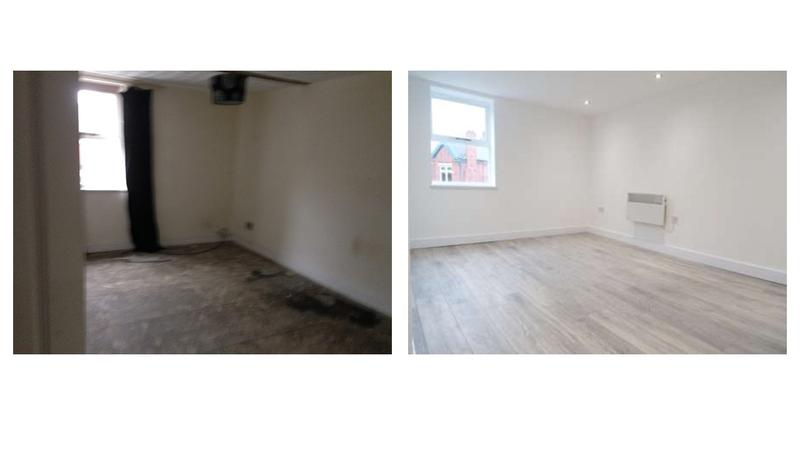 Image 30 - Before and after, conversion of a three storey listed building into three self contained flats with fire panel, full rewire, electric cylinder water system.