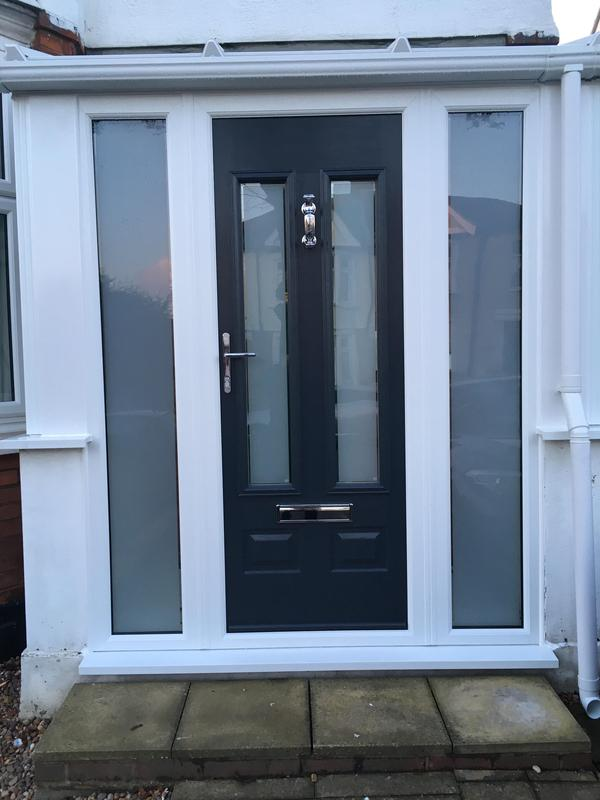 Image 95 - Southend-on-Sea-Grey composite door with side panels