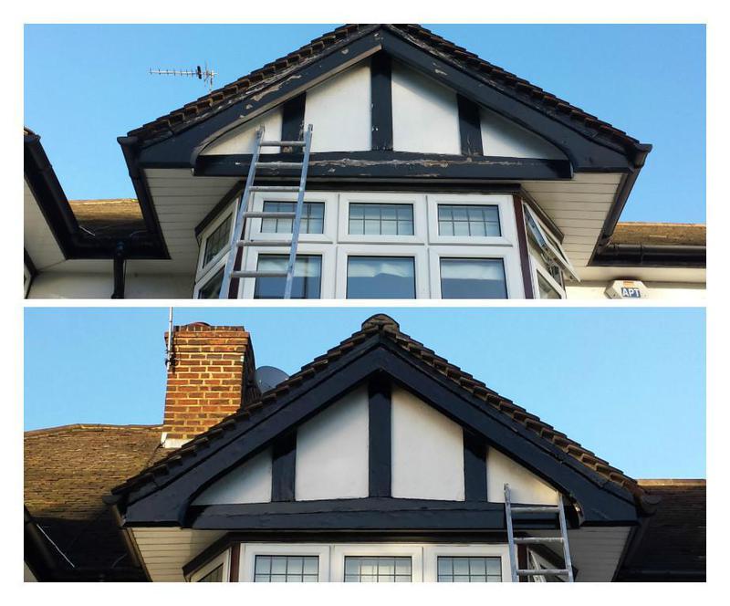 Image 95 - Tudor style cladding refurbished and painted.