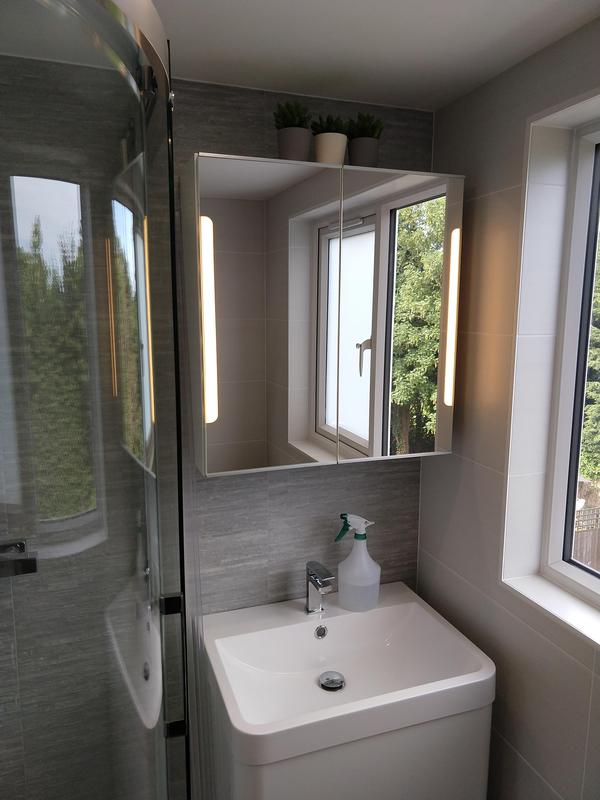 Image 4 - Loft Conversion: En suite down lights and LED mirror cabinet with built in shaver socket.