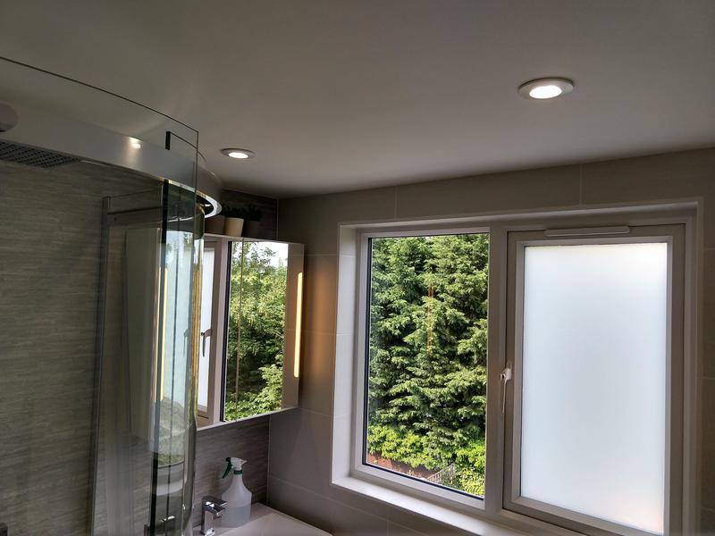 Image 5 - Loft Conversion: En suite down lights and LED mirror cabinet with built in shaver socket.