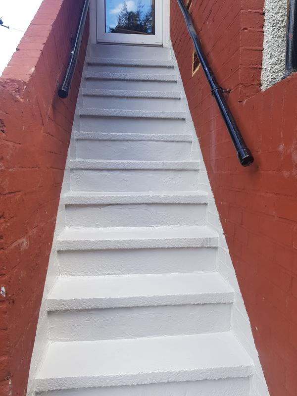 Image 72 - leaking concrete stairs NOW SEALED TWO PART EPOXY RESIN PAINT with hand full sand thrown in to helps less slip and no water penetration