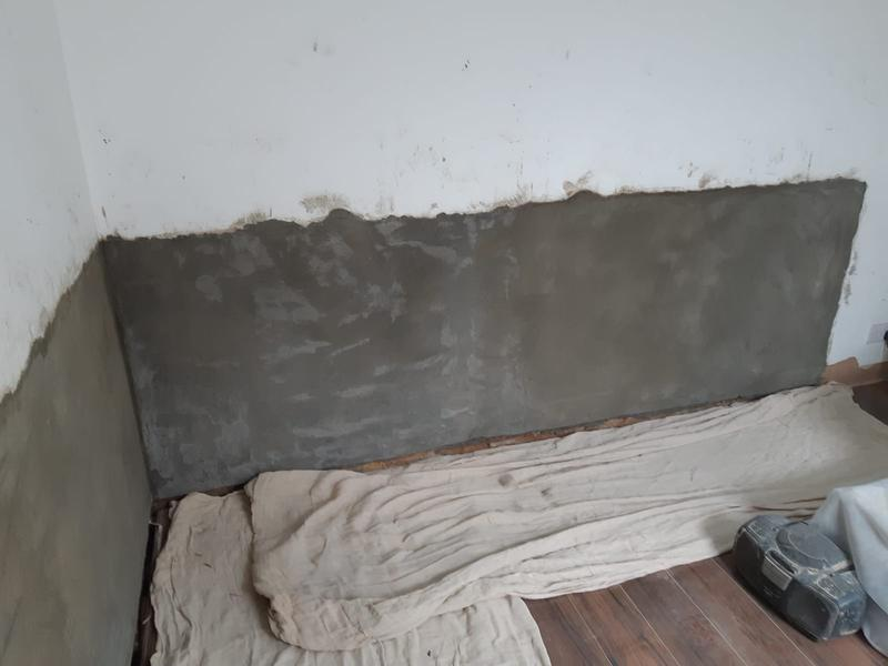 Image 18 - Pic of damp injection re render chemical damp course   Reduced ground levels outside and a new plinth